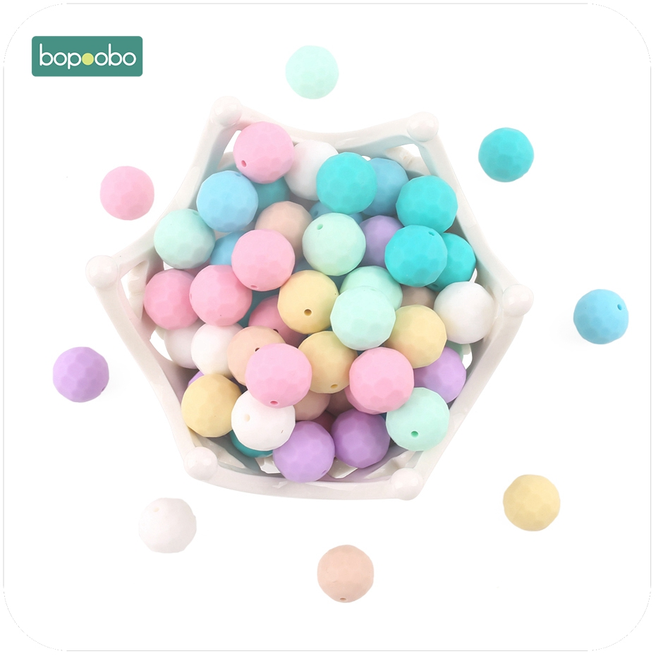 Bopoobo 10pcs Baby Silicone Teether Multi-faceted Beads Mint DIY Teething Necklace Made Silicone Beads Baby Teether 15mm