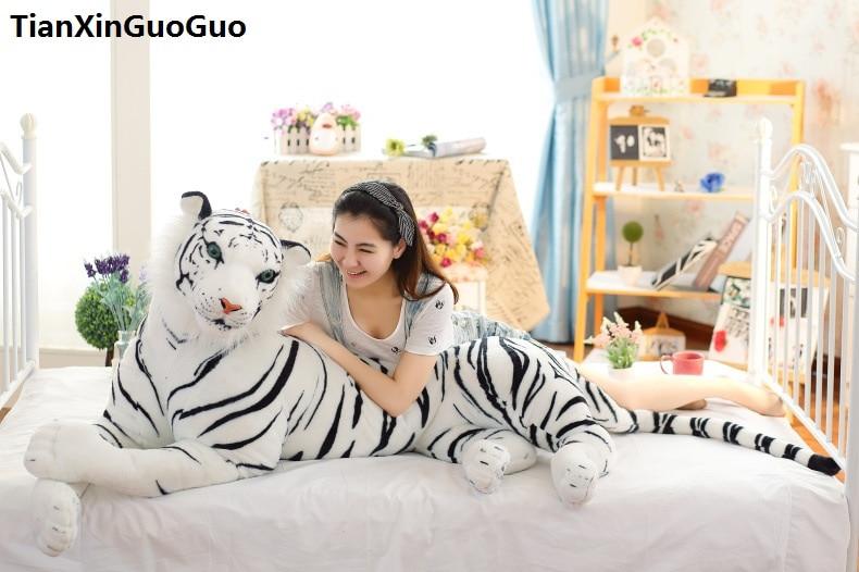 stuffed toy huge 170cm cartoon prone tiger plush toy white tiger soft doll sleeping pillow birthday gift s0484