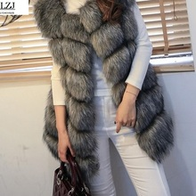LZJ High quality Fur Vest coat Luxury Faux Fox Warm Women Coat Vests Winter Fashion furs Women's Coats Jacket Gilet Veste 4XL
