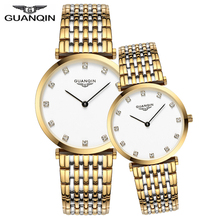 GUANQIN Couple Watch Set Diamond Womens Mens Watches Top Bra