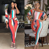 2018 WOMENS Tie Front JUMPSUIT Capri ROMPERS STRIPED Print Tropical Overalls Color Block Off Shoulder Elegant Party Jumsuit 2XL