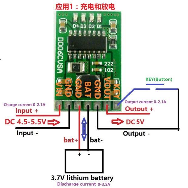5V/2.1A Charging / Discharging / Boosting Module, 3.7V, 4.2V Lithium Battery, Mobile Power Supply, DIY Board