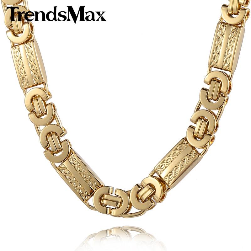 7f911e051f85 Trendsmax 11mm para hombre de oro collar de cadena de color bizantino  enlace collar de acero inoxidable KN272