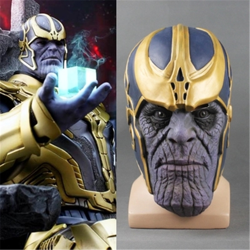 2018 Hot Avengers: Infinity War Cosplay Costumes Thanos Latex Full Head helmet Mask fancy ball Masks prop Adult carnival party