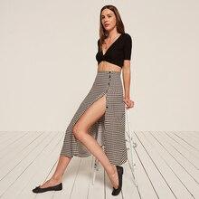 Women Sexy Button Vintage Midi Skirt  ST01