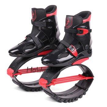 Zapatos de salto de canguro para hombre y mujer, zapatillas deportivas profesionales transpirables, color negro-rojo, talla 17/18