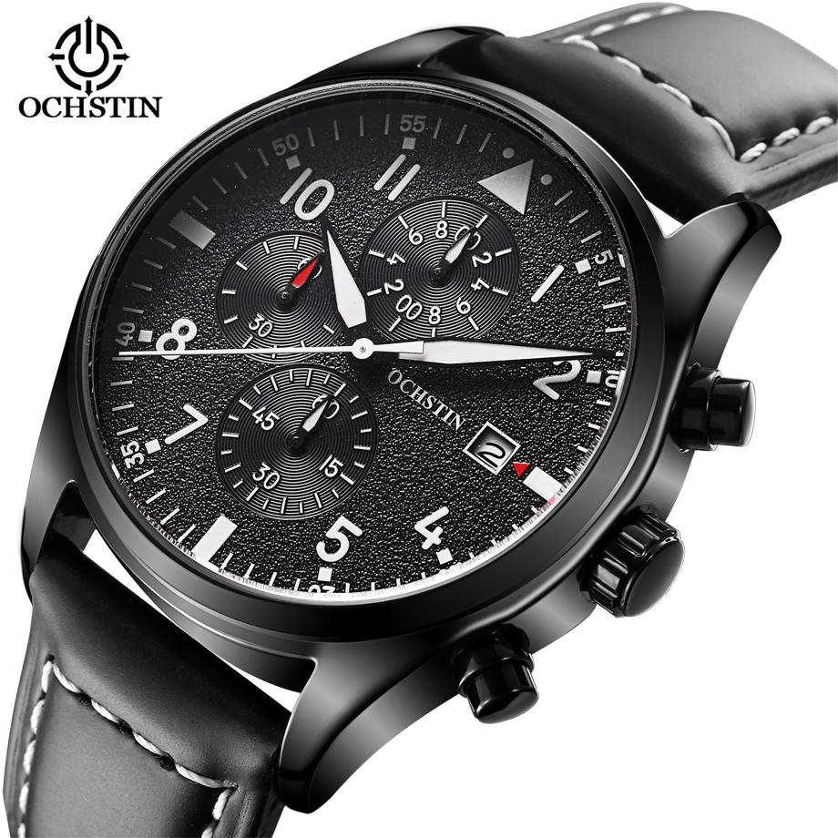 Prix pour De luxe Hommes de Quartz Montre-Bracelet Chronographe Lumineux 6 Mains Travail Mode En Cuir Étanche Montres de Sport relogio masculino