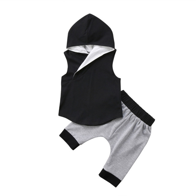 ee37fe2b3b83 Trendy Cute Kids Baby Boys clothes Hooded sleeveless pullover Tops ...