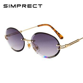 7e5c5cdf55 SIMPRECT sin montura ovalada Gafas De Sol De las mujeres 2019 Retro De  Metal, Gafas De Sol De moda De marca De diseñador Vintage Gafas De Sol De  Mujer UV400