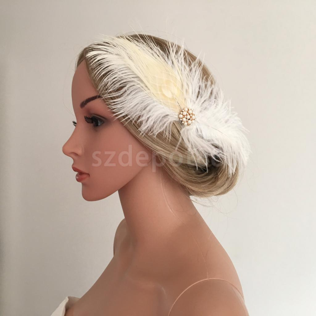 Women Girls Feather Hair Clip Headpiece Fascinator Wedding Party Costume