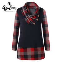 AZULINA Plus Size Womens Tops Long Sleeve Plaid T Shirts Women T Shirts New Fashions Buttons
