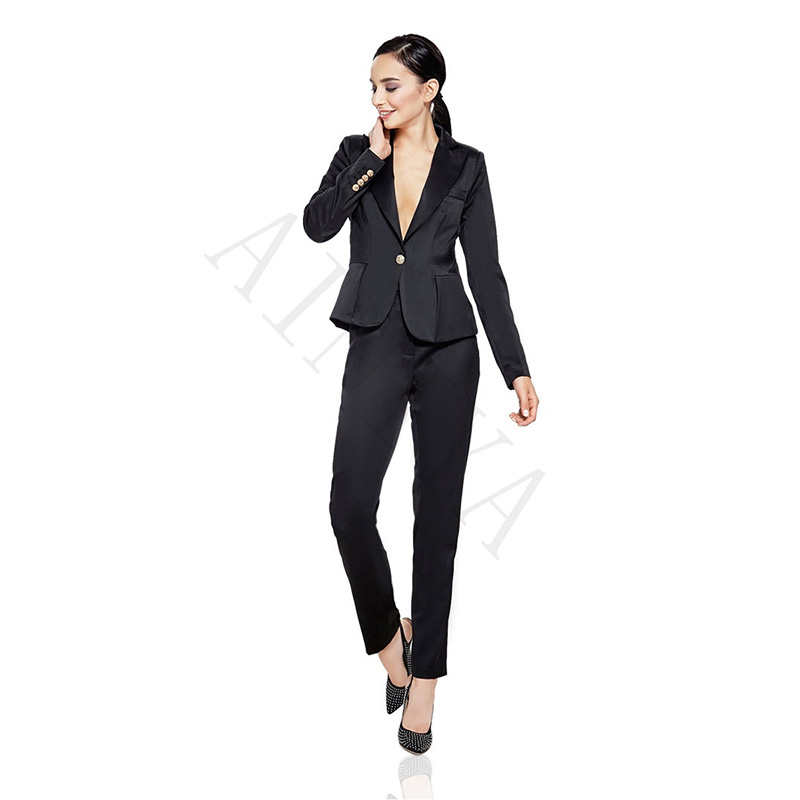 Здесь продается  Jacket Pants Black Women Business Suits Cotton Blended Satin Lapel Formal Female Trouser Suit Office Uniform Style Ladies Suits  Одежда и аксессуары