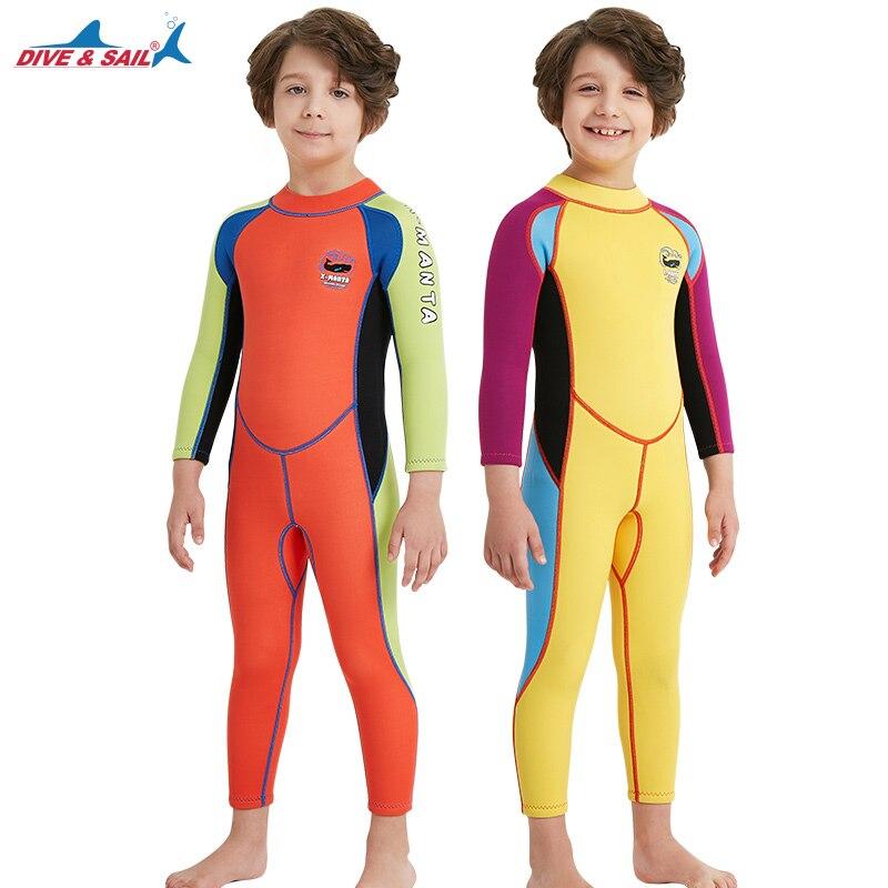 2.5mm néoprène enfants combinaison de plongée combinaison humide enfant maillots de bain une pièce à manches longues crème solaire chaud enfants combinaisons garçons