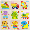 Fashion Cute Funnys Wooden Animals Fruit Kid Educational Toys Puzzles Cartoon For Baby Puzzles Toys