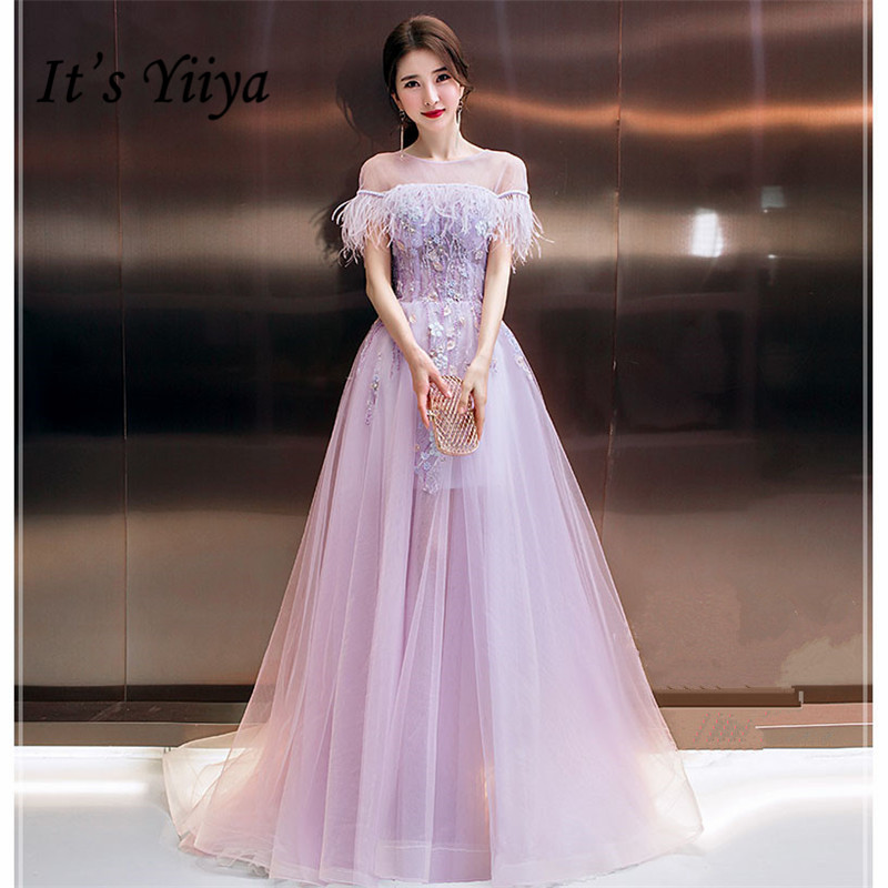 It's YiiYa Evening Dress 2019 Voile O-neck Beaded Applique Long Women Party Dress Strappy Backless Robe De Soiree Plus Size E491