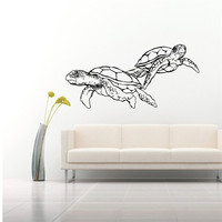 Swimming Sea Turtles Double Art Designed Wall Stickers Home Special Bathroom Decorative Vinyl Cool Wall Murals