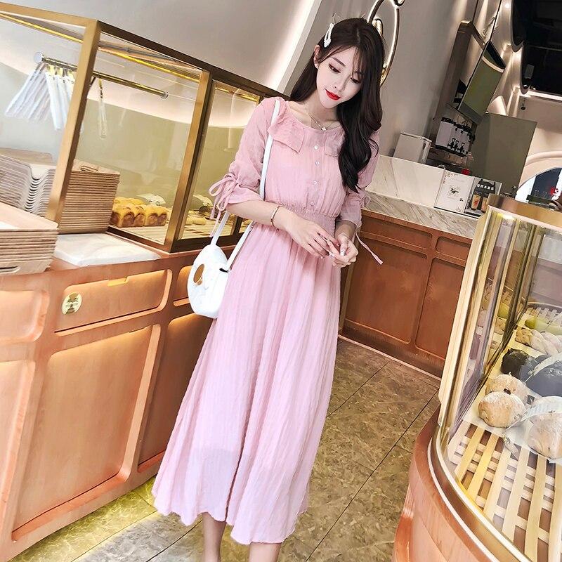 Maxi Long Party Dress Women Elegant Pink Color Button High Waist Loose Casual Beach Plus Size Sexy Dress Summer Robe Femme 1