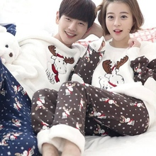 Couple Pajama Sets 2018 Autumn winter female Flannel Cartoon Warm Pyjamas  Long sleeve Homewear Sleepwear Snowflake 9ca65dc3a