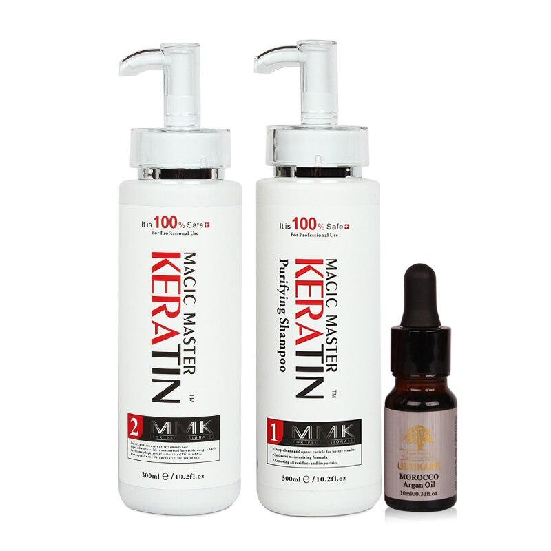 Бесплатная 300 мл Magic Master Кератиновое лечение без формалина выпрямить вьющиеся волосы + мл 300 мл очищающий шампунь аргановое масло