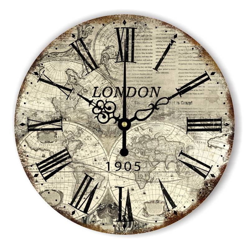 Vintage silent wall decor clocks london world map large wall clock vintage silent wall decor clocks london world map large wall clock modern design home decoration watch wall for office bar hotle in wall clocks from home gumiabroncs Image collections