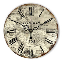 Vintage Silent Wall Decor Clocks London World Map Large Wall Clock Modern Design Home Decoration Watch Wall for Office Bar Hotle