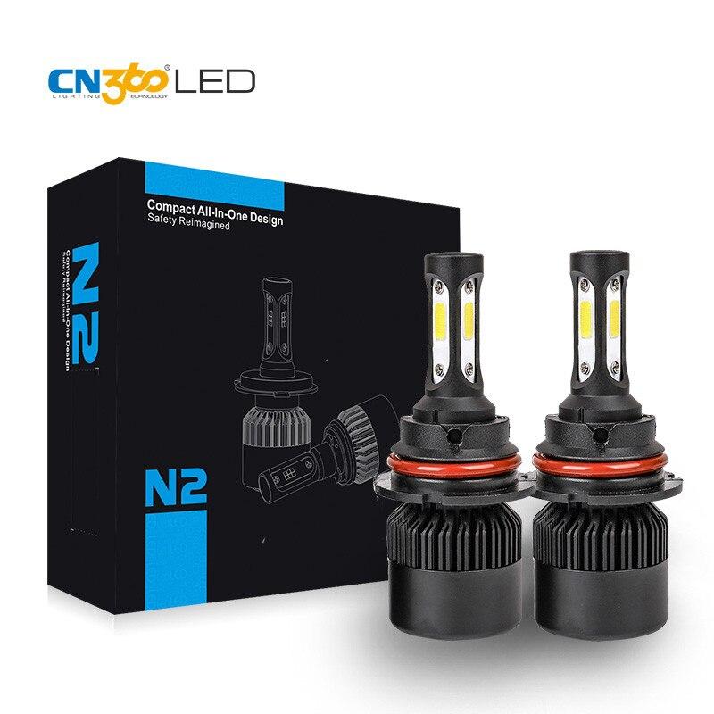 CN360 2PCS 9007 LED Headlight Fog Light Bulb COB Chip Single Beam 72W 12V 6000K All In One Small Size With Good Heat Dissipation 12v led light auto headlamp h1 h3 h7 9005 9004 9007 h4 h15 car led headlight bulb 30w high single dual beam white light