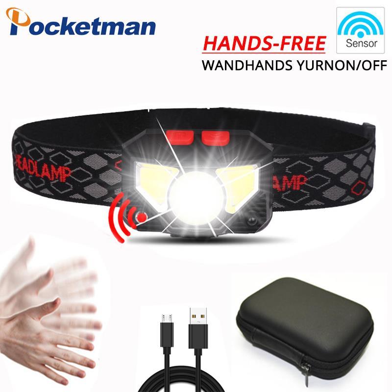 Pocketman 8200lm Sensor LED Headlamp Motion Powerfull Hard Hat headlight Built-in battery inductive with Portable box