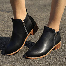 Booties Women Ankle Boots Leather PU Metal Chains Natural Suede Low Heels Boots Fashion Spring Winter Martin Ladies Shoe 2018(China)
