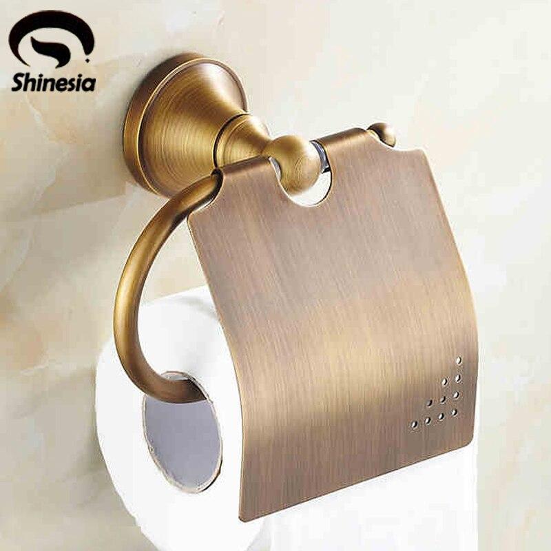 Classical Bathroom Toilet Paper Holder Solid Brass Bathroom Accessories Wall Mount Antique Brass toilet paper holder hanger brass marble wall mount set furniture silver gold antique brass rose golden 4 color gjke5005