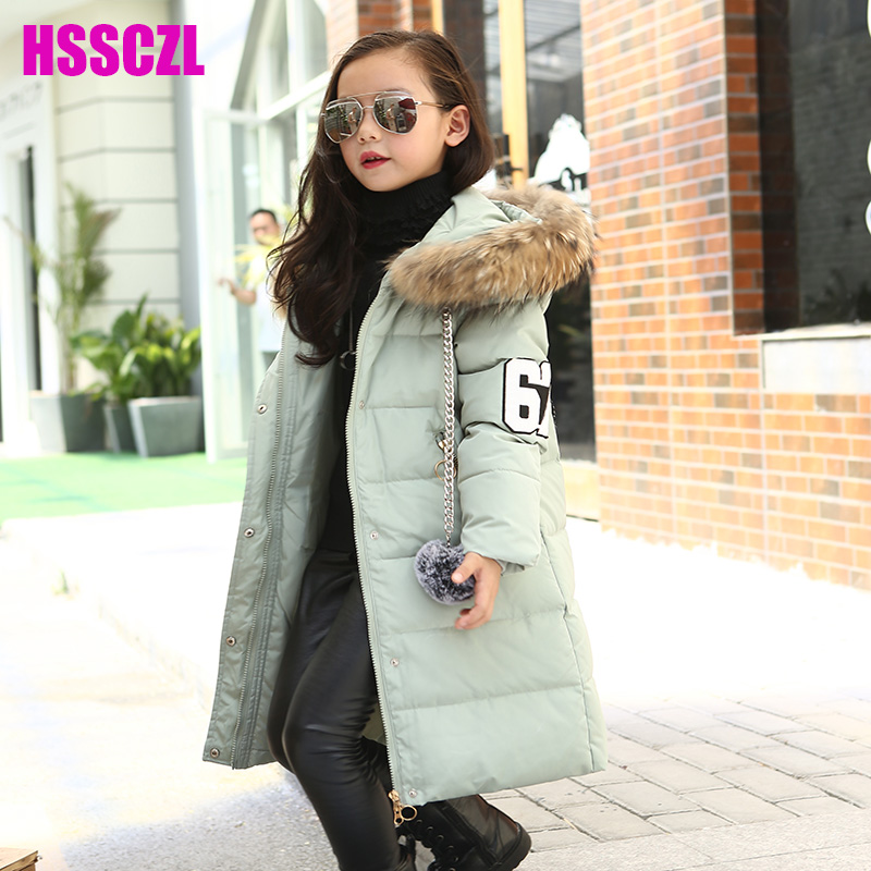 HSSCZL Girls Down Jackets Winter 2017 Brand Children Girl Down Jacket Coat Outerwear Fur Collar OvercoatCartoon decoration 5-14A girls down coats girl winter collar hooded outerwear coat children down jackets childrens thickening jacket cold winter 3 13y