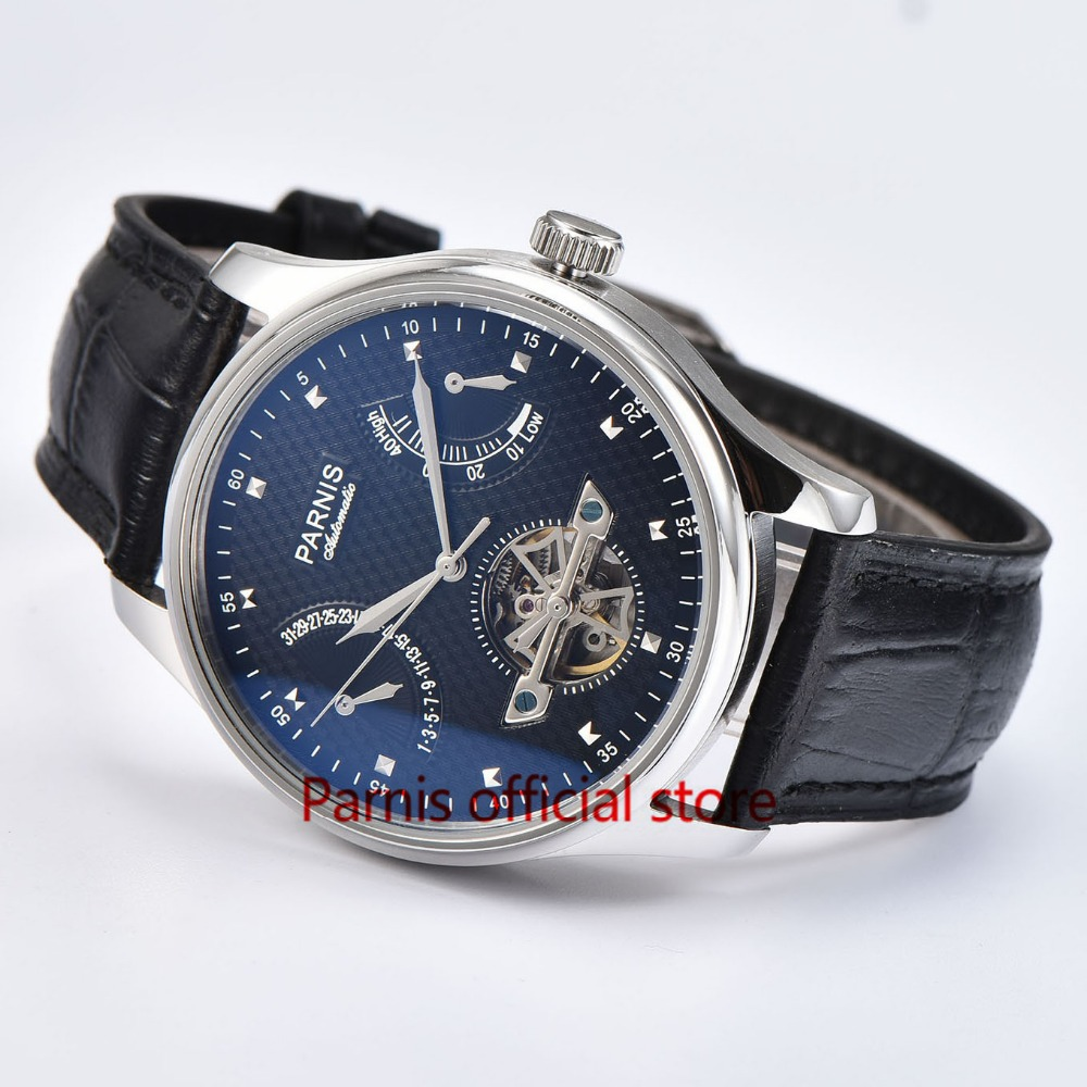 43mm Men Watch Parnis Tourbillon Automatic Watches Power Reserve Black Dial Stainless Steel Case Sea-gull 2505 Free Shipping
