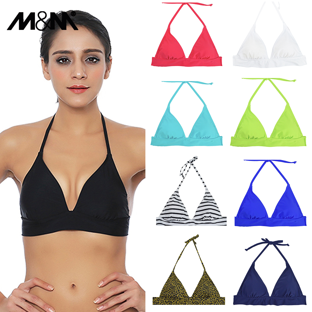 M & M New Women Halter Bikini Top Push Up Brasiliano Pad Bikini Beach Stampa Micro Biquini Sporty Solid Swimwear Sexy Costume da bagno T603