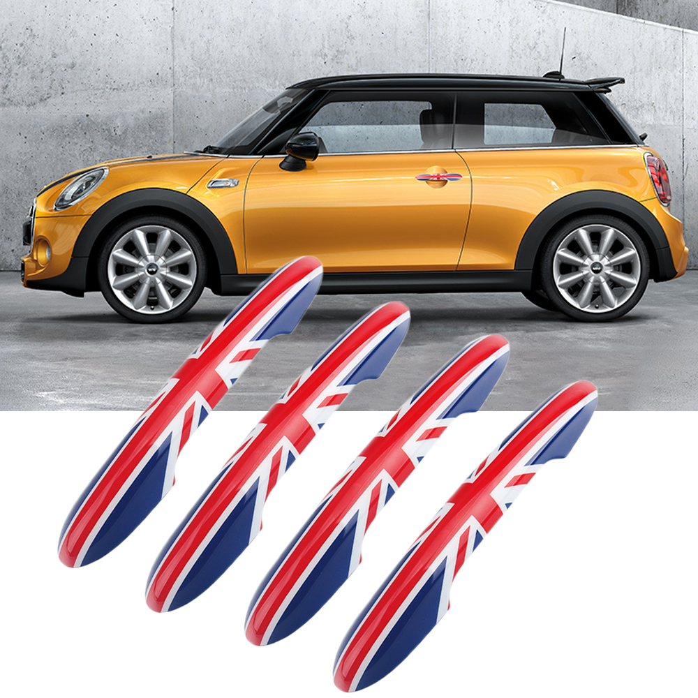 4Pcs/set Car Door Handle Doorknob Cover Sticker Decal Decoration For BWM Mini Cooper JCW One F54 F55 F60 Car Styling Accessories 2pcs set union jack rear trunk door handle covers decoration sticker for mini cooper jcw f54 clubman car styling accessories