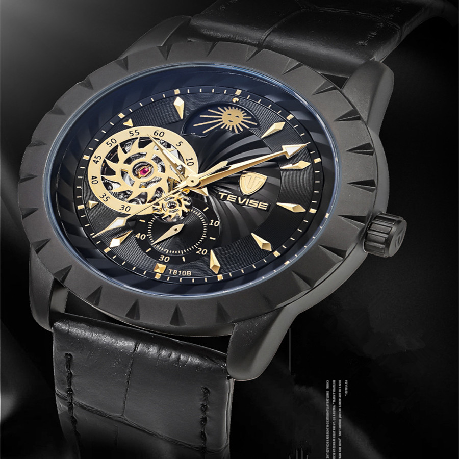 Watch Men Luxury Brand TEVISE Automatic Mechanical Watches Leather Moon Phase Tourbillon Luminous Wristwatch Relogio Masculino