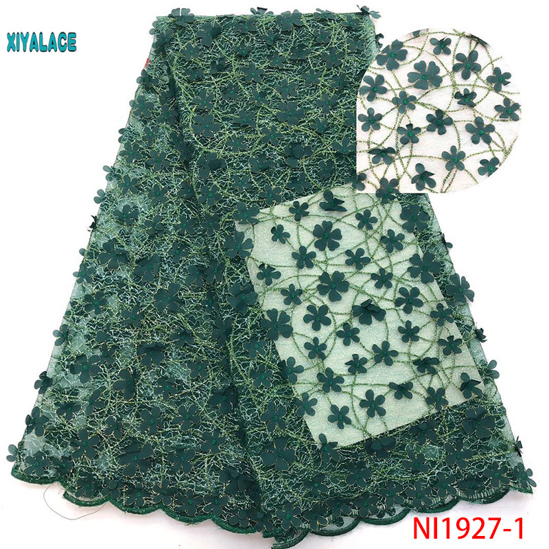 African Lace Fabric 2019 High Quality Lace  Newest 3D Flowers Tullle Lace Fabric French Beads Lace Fabric Party Beads YANI1927-1