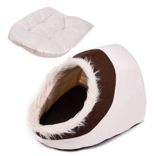 Super Warm Cat Cave Bed Dog House Puppy Kennel Shelter for Kitty Rabbit and Nest for Kitten Small Animals Edge With Soft Hair