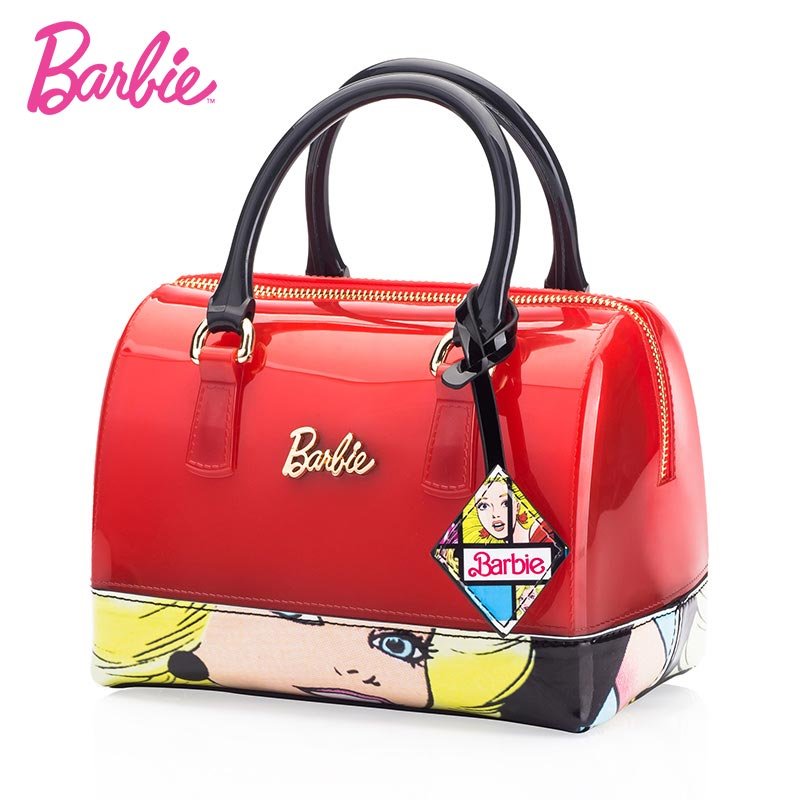 Barbie 2018 new fashion Women Shoulder Bags Jelly bag Leather handbags red color patchwork women Female Bag Individuality