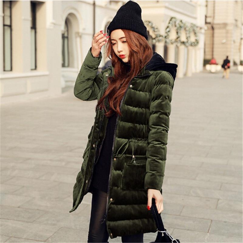2017 Newest Velour Coat Hooded Winter Jacket Women Korean Style Mid Long Velvet Parka Thicken Slim Warm Outwear Ladies Fashion women lady thicken warm winter coat hood parka overcoat long outwear jacket