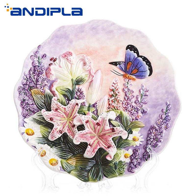 8inch Pastoral Ceramic Plate Creative Design Emboss Flower Butterfly Dish Art Porcelain Tray Wedding Gift Crafts Home Wall Decor