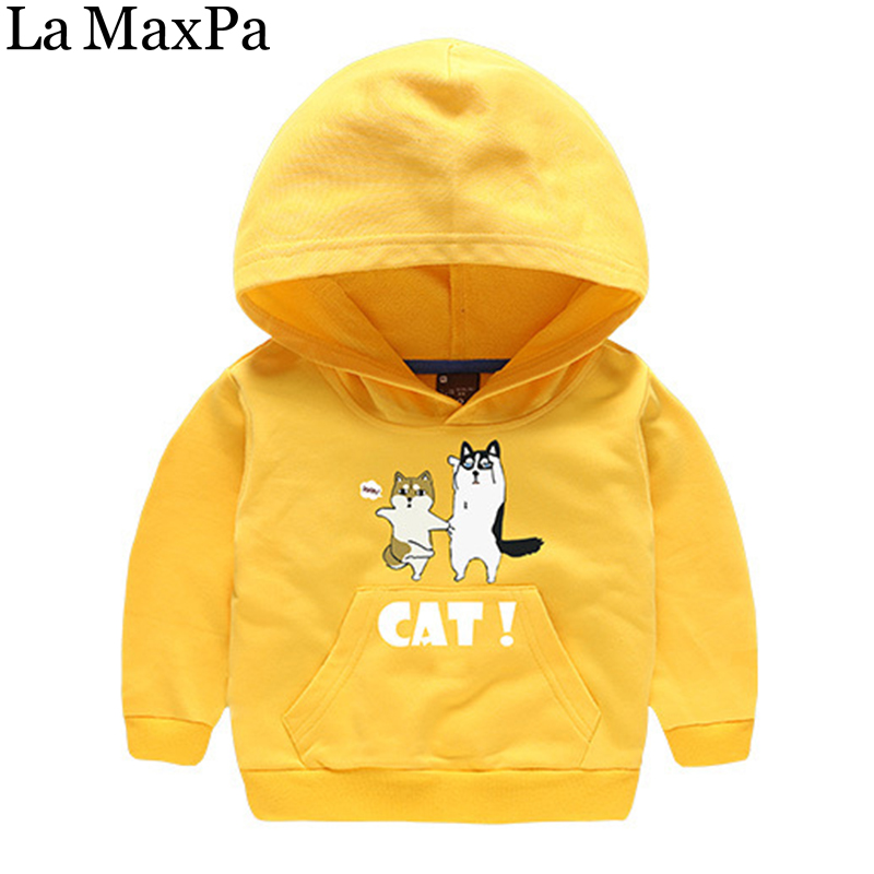 La MaxPa Autumn Children Clothing 2018 New Kids Boys Hooded Sweatshirts Outerwear Cartoon Cats Pattern pullover Hoodies Cotton