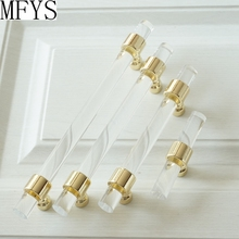 3 3.5 3.75 4 4.5 5 5.5 6.3 Acrylic Drawer Knobs Pulls Handles Dresser Pull Clear Gold Kitchen Cabinet Door Handle