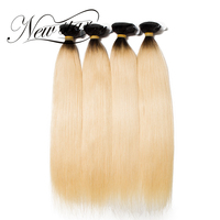 NEW STAR 4 Pieces 1B/613 Blonde Straight Black Root Brazilian Remy Human Hair Extension Double Weft Bundles Thick Soft Weave