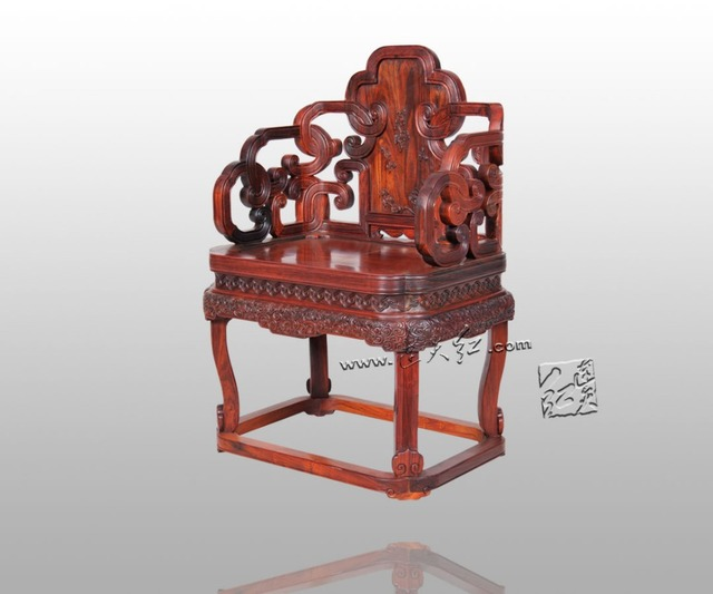 Neocalssical Antique Leisure Arm Chair Backed Rosewood Living Room  Furniture Solid Wood Armchair Annatto Chinese Retro