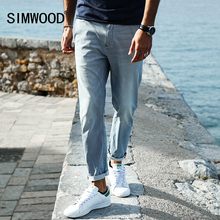 SIMWOOD 2017 New Spring Summer  Spray painting Striped  Jeans Men skinny Thin Fashion Slim Fit  Denim Trousers SJ6080