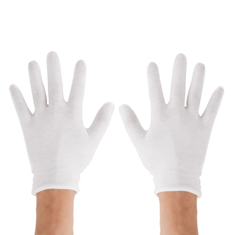 Reusable White Cotton Gloves Thin Elastic Soft Gloves for Dry Hand Moisturizing Cosmetic Eczema Hand Spa Coin Jewelry Inspection