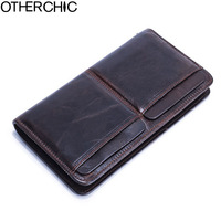 OTHERCHIC New Long For Men Genuine Leather Men Wallets With Multi Card Holders Brown Cowhide Function