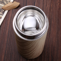 내부 유리 진공 플라스크 320 미리리터 품질 나무 곡물 보온병 차 컵 필터 유리 내부 열 컵 절연 물