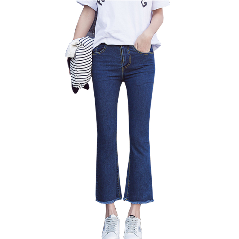 2017 New Spring Summer High Waist Jeans Casual Slim Pants Trousers For Women Blue Fringed Flare Denim Jeans Femme Plus Size plus size pants the spring new jeans pants suspenders ladies denim trousers elastic braces bib overalls for women dungarees
