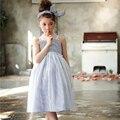 Verão nova gaze branca tarja condoer das meninas vestidos Crianças vestido de princesa meninas do bebê sem mangas vestido de baile vestido de patchwork