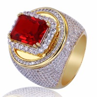 New Arrival Bling Ice Out Cubic Zirconia Hip Hop Ring Heavy Gold Color Round Copper Red Natural Stone Men Rings Rock Jewelry